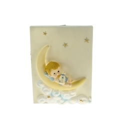Mega Favors - Baby Laying on Moon Poly Resin Plaque - Blue