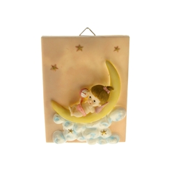 Mega Favors - Baby Laying on Moon Poly Resin Plaque - Pink