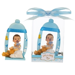 Mega Favors - Baby Sitting Under Bottle Picture Frame Poly Resin in Gift Box - Blue
