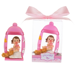 Mega Favors - Baby Sitting Under Bottle Picture Frame Poly Resin in Gift Box - Pink