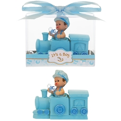 Mega Favors - Baby inside Train Poly Resin in Gift Box - Blue