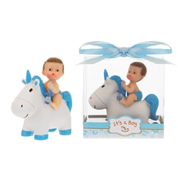 Mega Favors - Baby Sitting on Unicorn Poly Resin in Gift Box - Blue