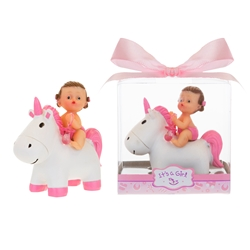 Mega Favors - Baby Sitting on Unicorn Poly Resin in Gift Box - Pink