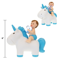 "Mega Favors - 8"" Baby Sitting on Unicorn Poly Resin - Blue"