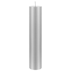 "Mega Candles - 2"" x 9"" Unscented Round Pillar Candle - Silver"