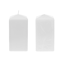 "Mega Candles - 3"" x 6"" Unscented Dome Top Square Pillar Candle - White"