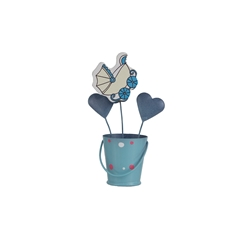 Mega Favors - Baby Carriage in Bucket Photo Holder - Blue