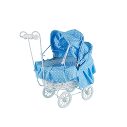 "Mega Favors - 8"" Baby Wicker Carriage - Blue"