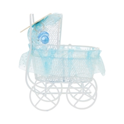 Mega Crafts - Small Metal Baby Carriage with Lace - Blue