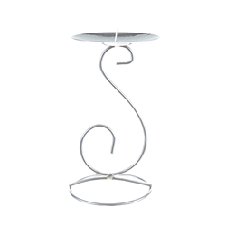 Mega Candles- Metal Candle Holder - Matte Silver