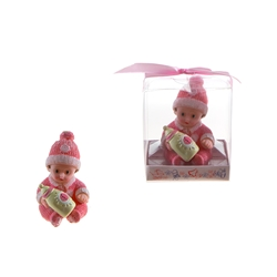 Mega Favors - Baby Wearing Winter Clothes Poly Resin in Gift Box - Pink