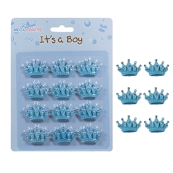 Mega Crafts - 12 pcs Crown with Rhinestones Poly Resin Embellishments - Blue