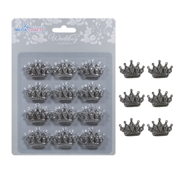 Mega Crafts - 12 pcs Crown with Rhinestones Poly Resin Embellishments - Silver