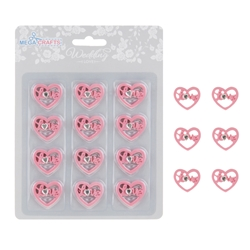 Mega Crafts - 12 pcs Hearts with Love Poly Resin Embellishments - Pink