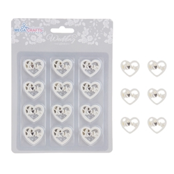 Mega Crafts - 12 pcs Hearts with Love Poly Resin Embellishments - White