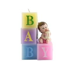 Mega Candles - Baby Sitting on Blocks Candle - Pink