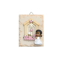 Mega Favors - Ethnic Baby Praying Wall Plaque - Pink