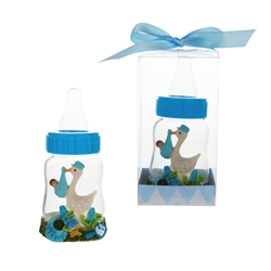 Mega Favors - Stork Carrying Baby on Baby Bottle Poly Resin in Gift Box - Blue