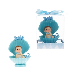 Mega Favors - Baby Sitting in Clam Shell with Pacifier Poly Resin in Gift Box - Blue