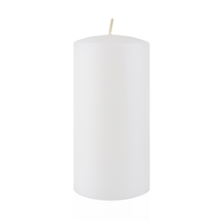"Azure Candles - 3"" x 6"" Unscented Round Glazed Pillar Candle - White"