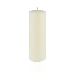 "Azure Candles - 3"" x 9"" Unscented Round Glazed Pillar Candle - Ivory"
