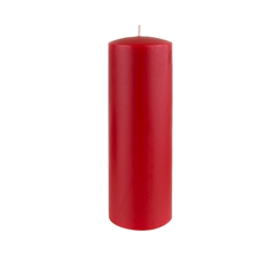"Azure Candles - 3"" x 9"" Unscented Round Glazed Pillar Candle - Red"