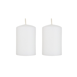 "Azure Candles - 2"" x 3"" Unscented Round Glazed Pillar Candle - White"