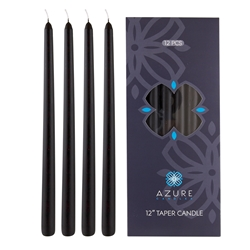 "Azure Candles - 12 pcs 12"" Unscented Glazed Taper Candle - Black"