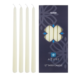 "Azure Candles - 12 pcs 12"" Unscented Glazed Taper Candle - Ivory"