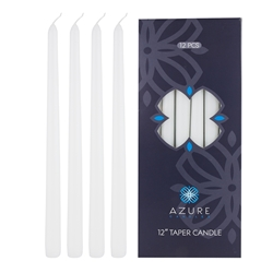 "Azure Candles - 12 pcs 12"" Unscented Glazed Taper Candle - White"