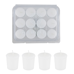 Azure Candles - 12 pcs 15 Hours Unscented Glazed Votive Candle in PVC Tray - White