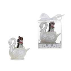 Mega Favors - Ethnic Wedding Couple Standing in Swan Poly Resin in Gift Box