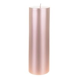 "Mega Candles - 3"" x 9"" Unscented Round Pillar Candle - Rose Gold"