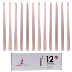 "Mega Candles - 12 pcs 12"" Unscented Taper Candle in White Box - Rose Gold"