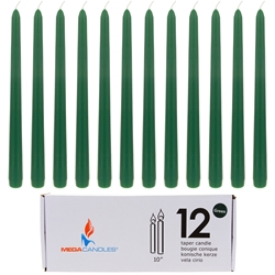 "Mega Candles - 12 pcs 10"" Unscented Taper Candle in White Box - Green"