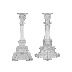 "Mega Candles - 8.25"" Eiffel Tower Taper Glass Candle Holder - Clear"