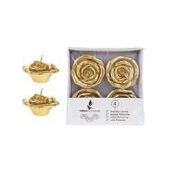"Mega Candles - 4 pcs 2"" Unscented Floating Flower Candle in White Box - Gold"