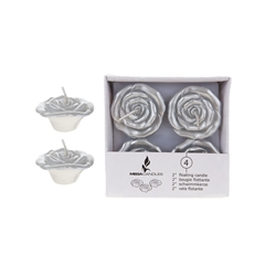 "Mega Candles - 4 pcs 2"" Unscented Floating Flower Candle in White Box - Silver"