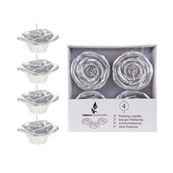 "Mega Candles - 4 pcs 3"" Unscented Floating Flower Candle in White Box - Silver"