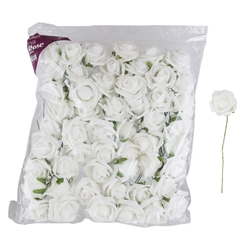 "Mega Crafts - 3"" EVA Rose Flower with Stem - White"