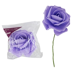 "Mega Crafts - 12"" EVA Rose Flower with Stem - Lavender"