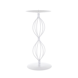 Mega Candles  - Pillar / Round Metal Candle Holder - White