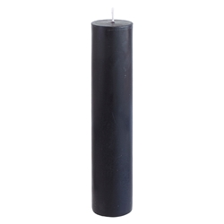 "Mega Candles - 2"" x 9"" Unscented Round Pillar Candle - Black"
